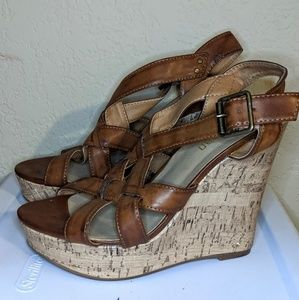 Tan Strappy Wedges/Sandals